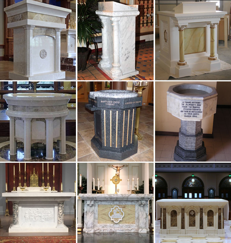 religious statues of marble altar and pulpit