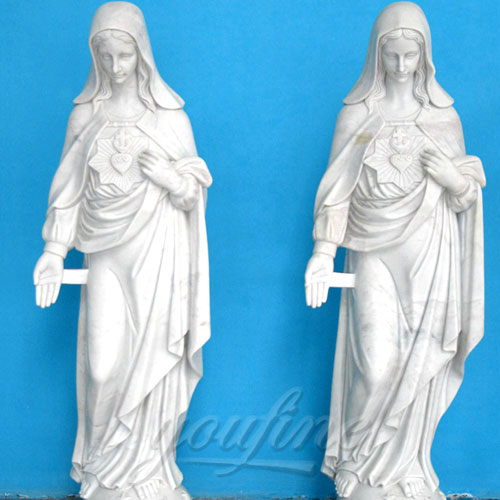 Natural White Stone Religious Virgin Mary Church Statues 5.2 Foot for Sale