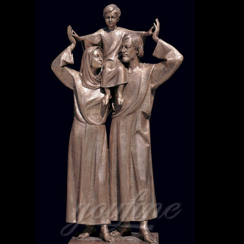 Bronze Christian Holy Family Statues of Mother Virgin Mary and Baby Jesus Lord