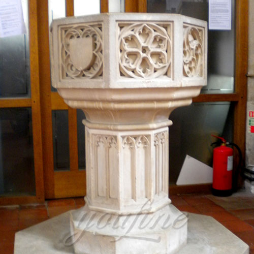 Religious Statues of Marble Fonts in a Church for Interior Decor on Sale