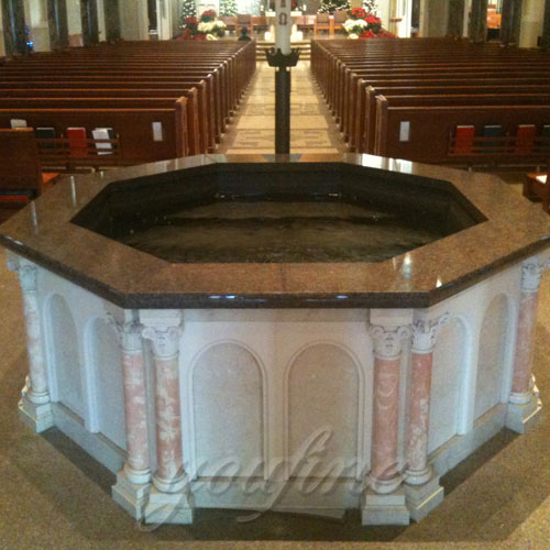 Religious Statues of Customized Natural Marble Baptismal Fountain for Church