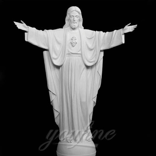 Home Interior Decorative White Marble Jesus Statue Open Hands for sale