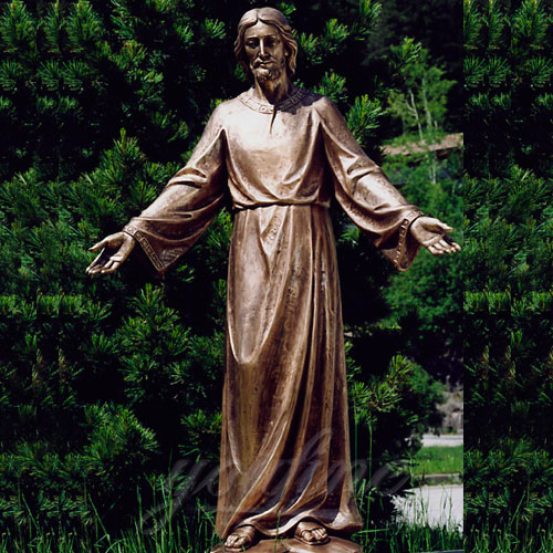Large New Products Bronze Christian Jesus Statues Opening the Arm for sale