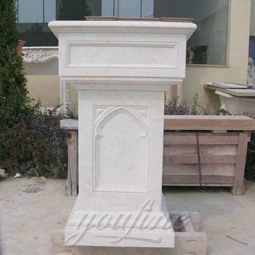 Modern Religious Statues of Hand Carved White Marble Pulpit for Church Decor