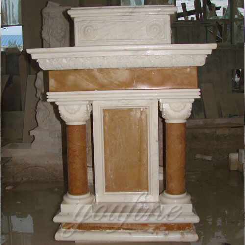 Modern Holy Religious Statues of Hand Carved White Marble Pulpit for Church Decor for Sale