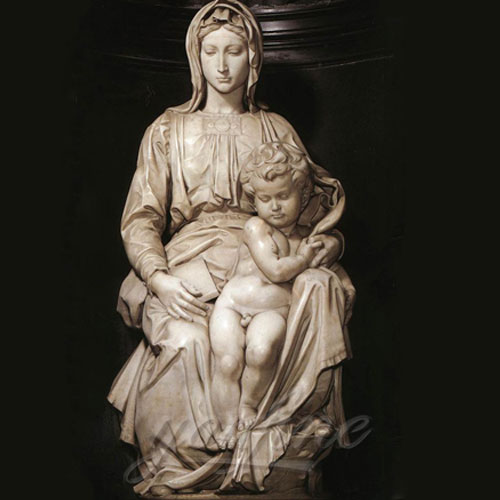 Religious Statues of Marble mary and baby jesus sculpture 4.3 Foot for sale