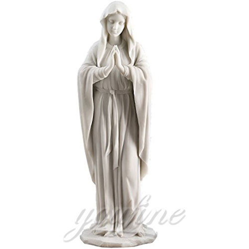 Outdoor Popular Design Religious Marble Virgin Mary Statues 5.2 Foot for sale