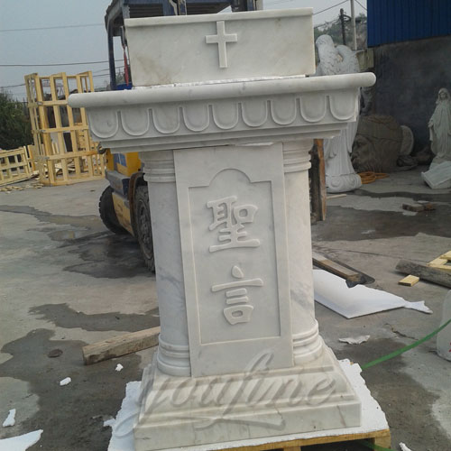 Religious Statues of White Hand Carved Marble Modern Church Pulpit for Decor
