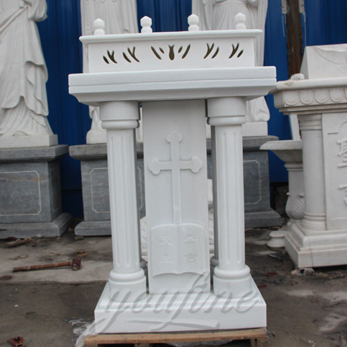 White Marble Church Lectern Pulpits for Church Interior Decor