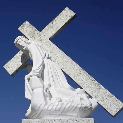 White Marble Jesus Statue with Cross on Back for Garden Decor
