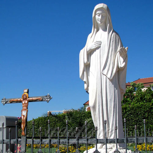 White Stone Virgin Mary Garden Statues 5.6 Foot for Sale