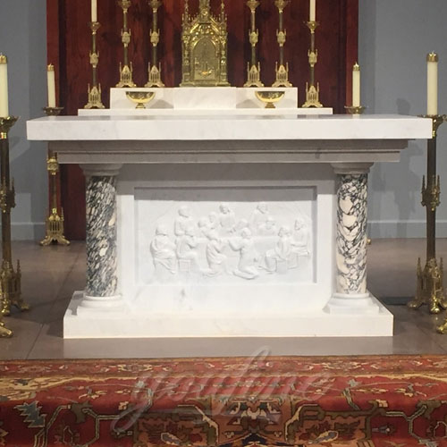 Wholesale Luxury White Marble Religious Statues of Altar Table for Church