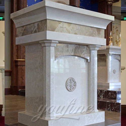 Religious Statues of Hand Carved Marble Pulpit for Church Decor for Sale