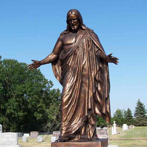 Life Size Garden Jesus Bronze Religious Statue Jesus with Open Arms Statue for Sale