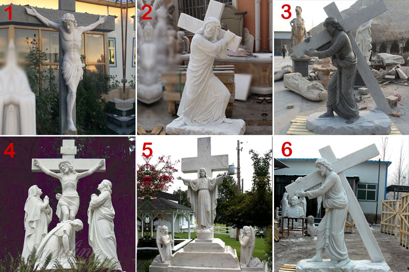 Marble carving catholic crucifix cross
