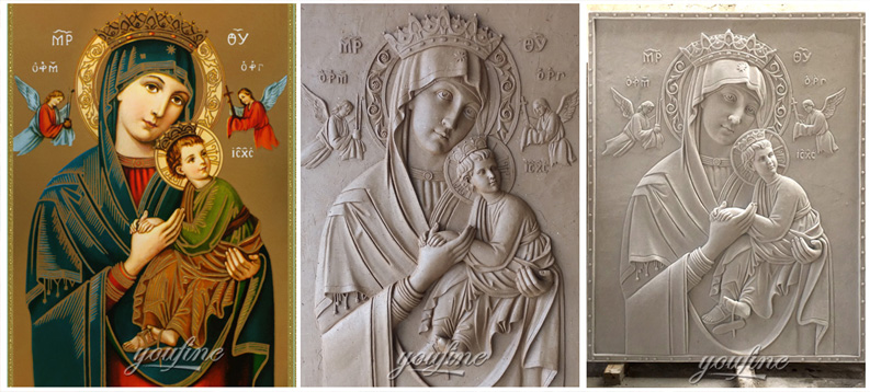 Large marble the Virgin of Perpetual relief religious statues design