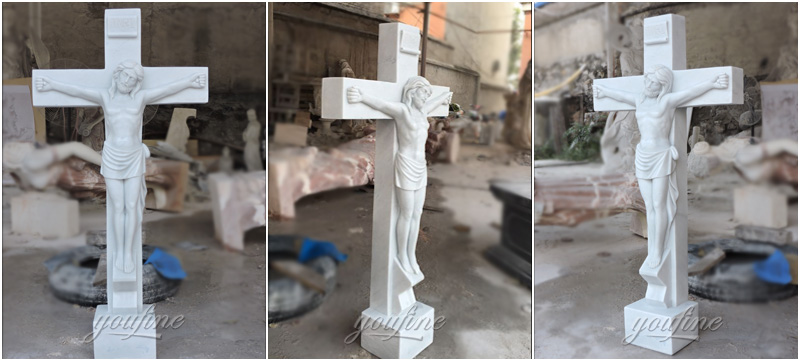 Religious statues of church marble Jesus suffered in the cross sculpture