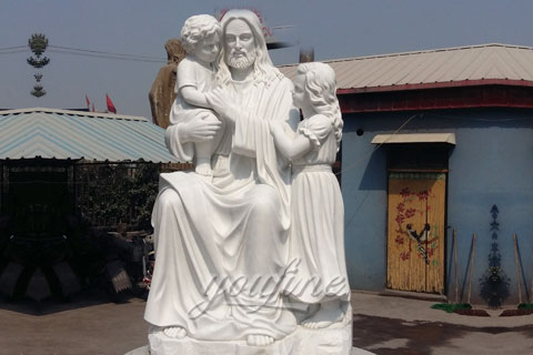 Religious statues of marble stone Jesus hold children sculptures