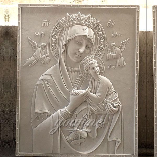 Large marble the Virgin of Perpetual relief religious statues