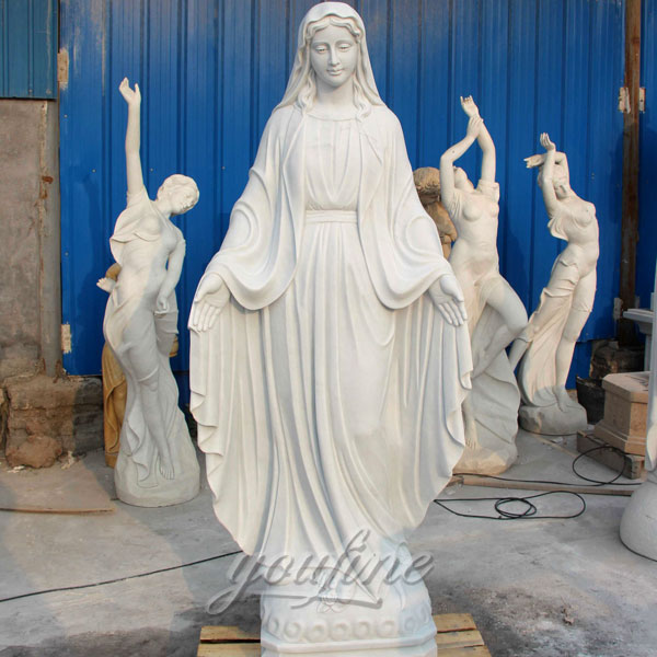 High polished religious statues of white marble our lady of grace made for church ceremony