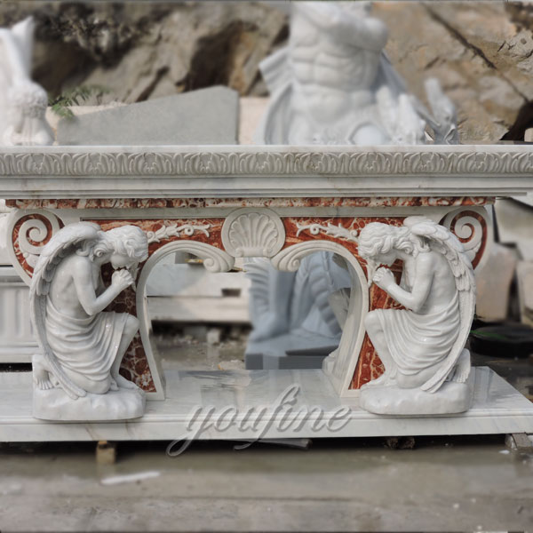 Customized church marble altar with praying angels in pairs