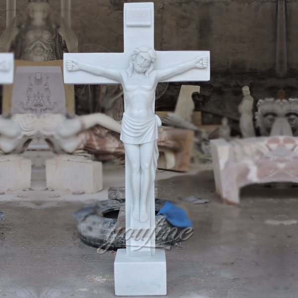 Religious statues of church marble Jesus suffered in the cross sculpture made for Carlos
