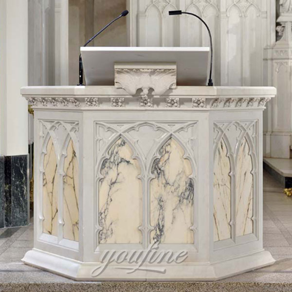 Church decor hand carving white marble pulpit religious statues for sale