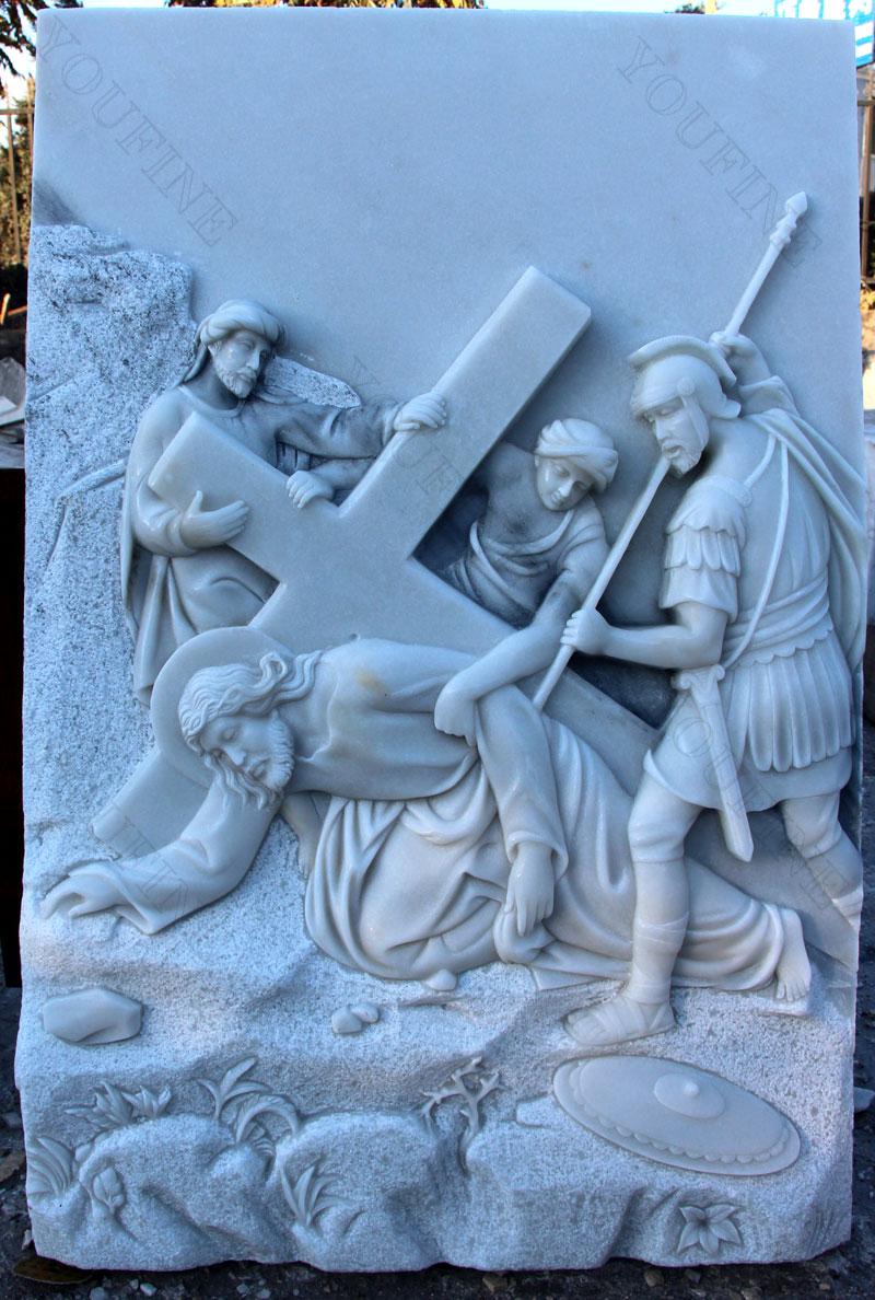 Church marble relief sculptures of the stations of the cross designs