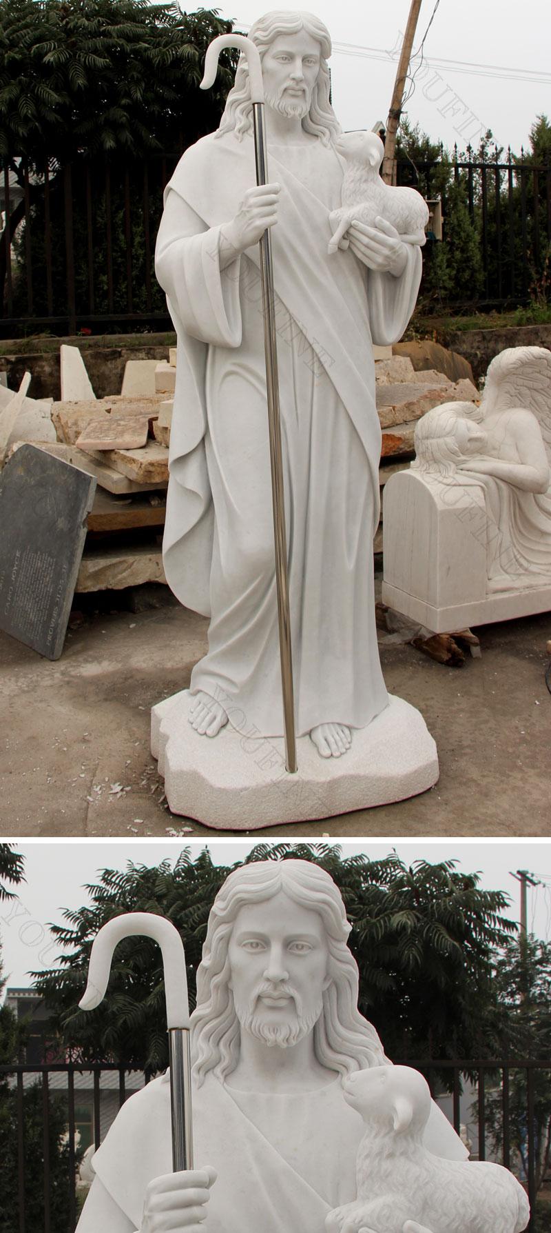 Life size marble shepherd statues of jesus details