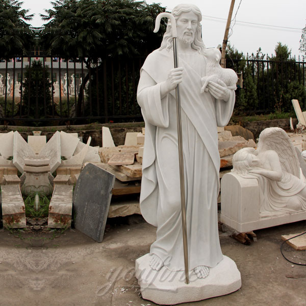Life size marble shepherd religious statues of jesus 5.9 foot for sale