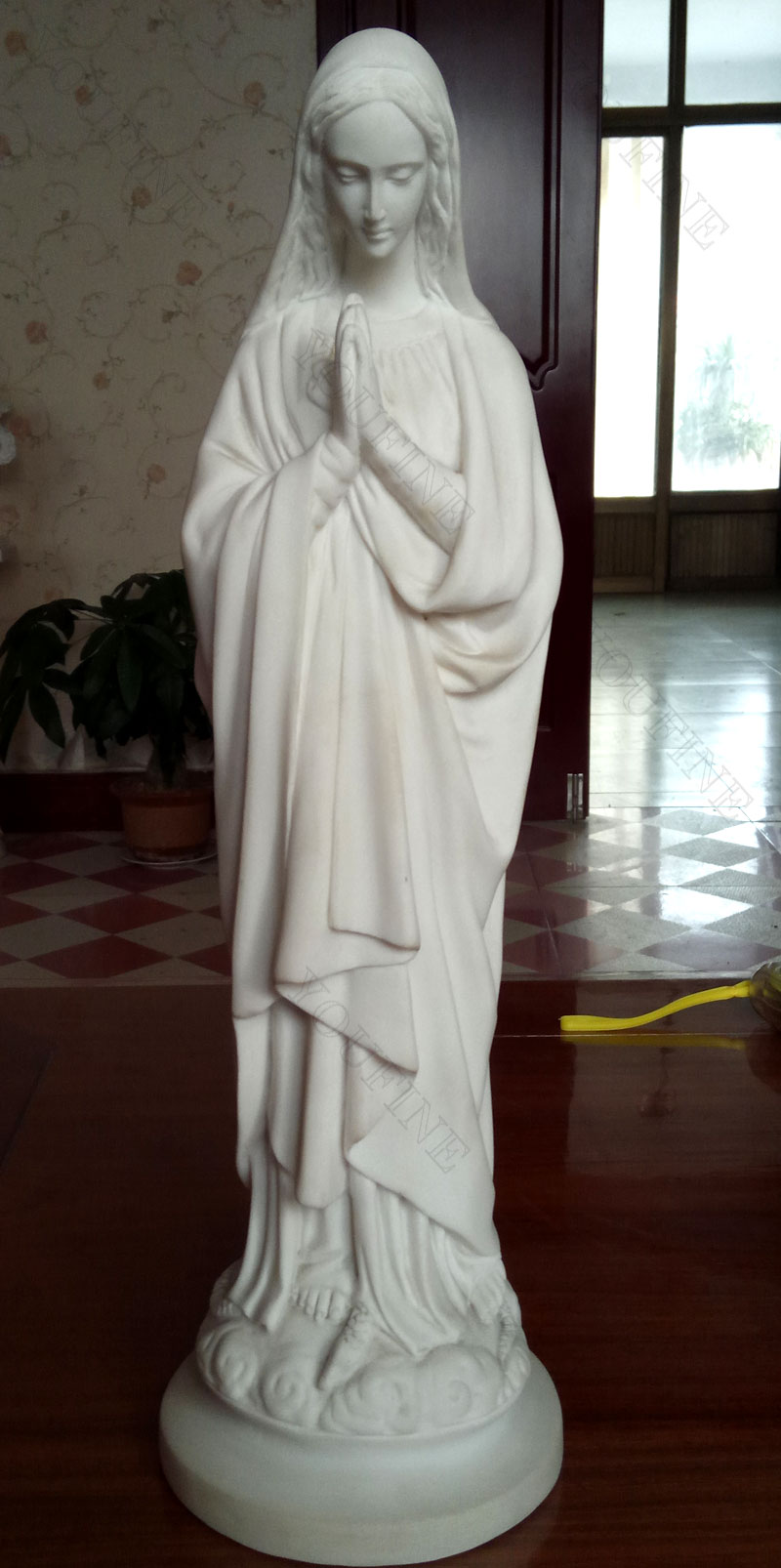 Life size white marble mother mary statues for interior decor designs