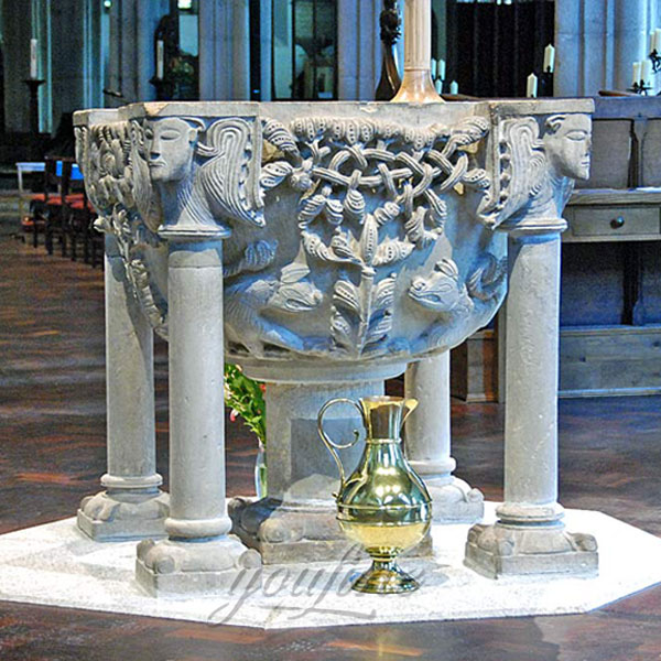 Luxury church decor of marble holy water font with beautiful carving decor for sale