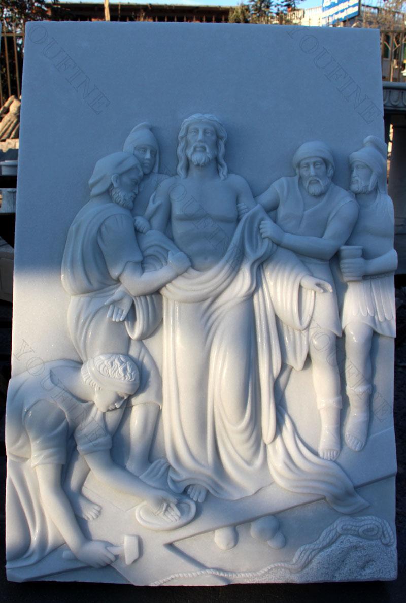 Marble Via Crucis catholic relief sculptures for church decor design