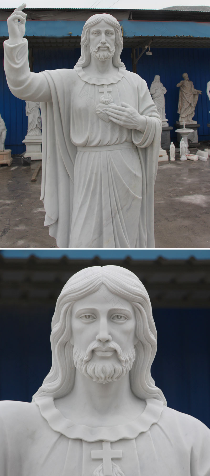 Marble carving sacred heart jesus christ statues designs
