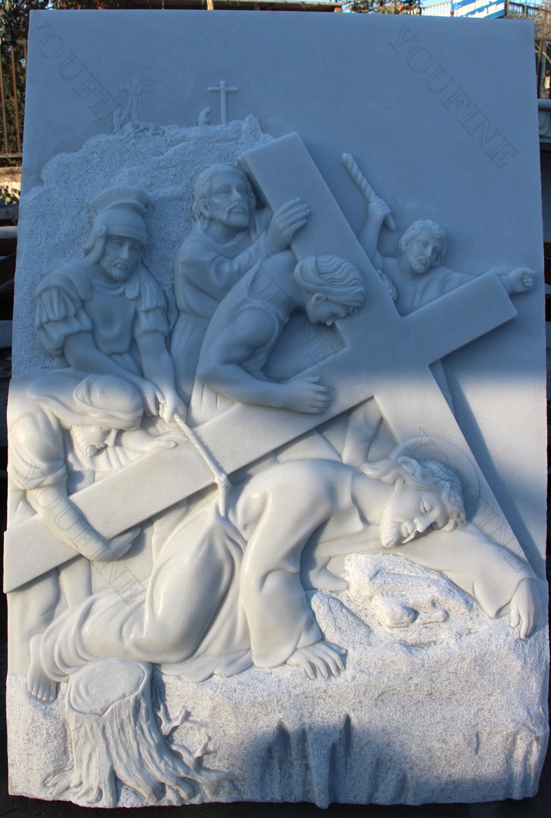 Marble relief sculptures of the way of the cross for church decor design