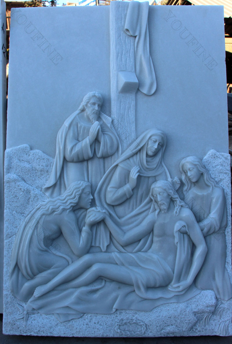 Marble stations of the cross catholic relief sculptures design