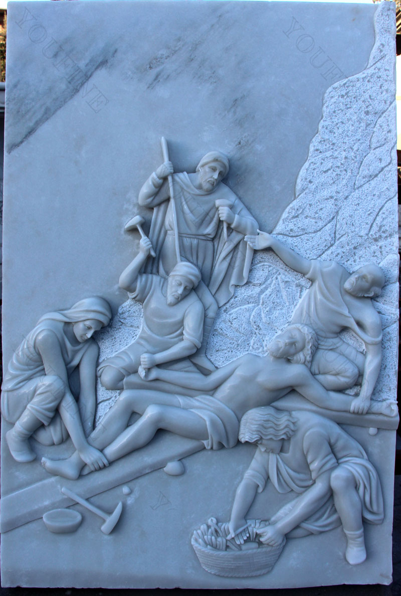 Marble the way of sorrows catholic relief sculptures for church decor design