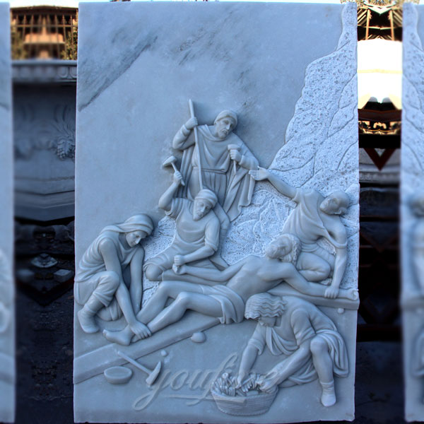 Marble the way of sorrows catholic relief sculptures for church decor