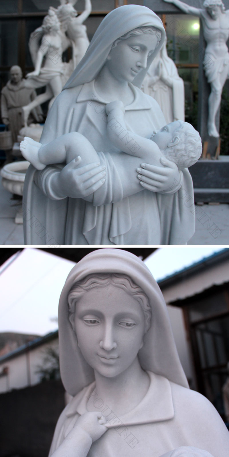 Mother virgin mary with baby jesus statues for church outdoor decor details