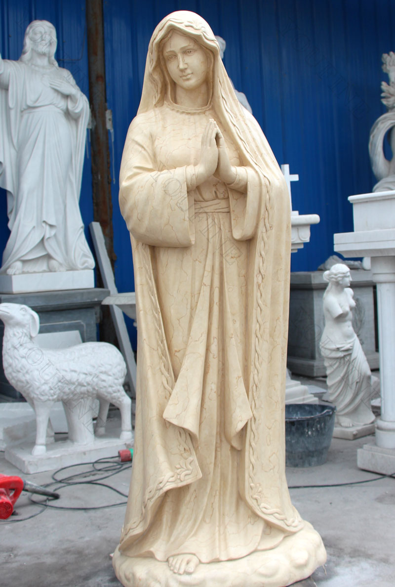 Our lady of fatima beige marble garden statues designs