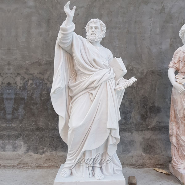 Religious garden sculpture of Saint Peter for outdoor decoration designs