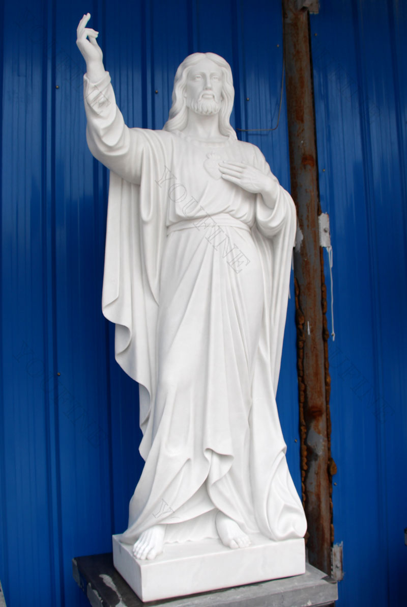 Religious giant white marble jesus statues for church designs