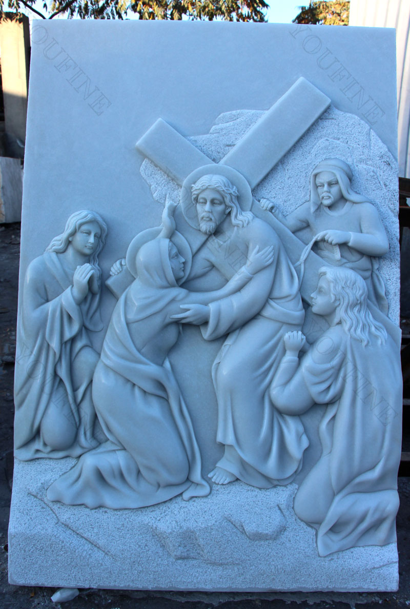 Religious marble carving relief sculptures of the stations of the cross