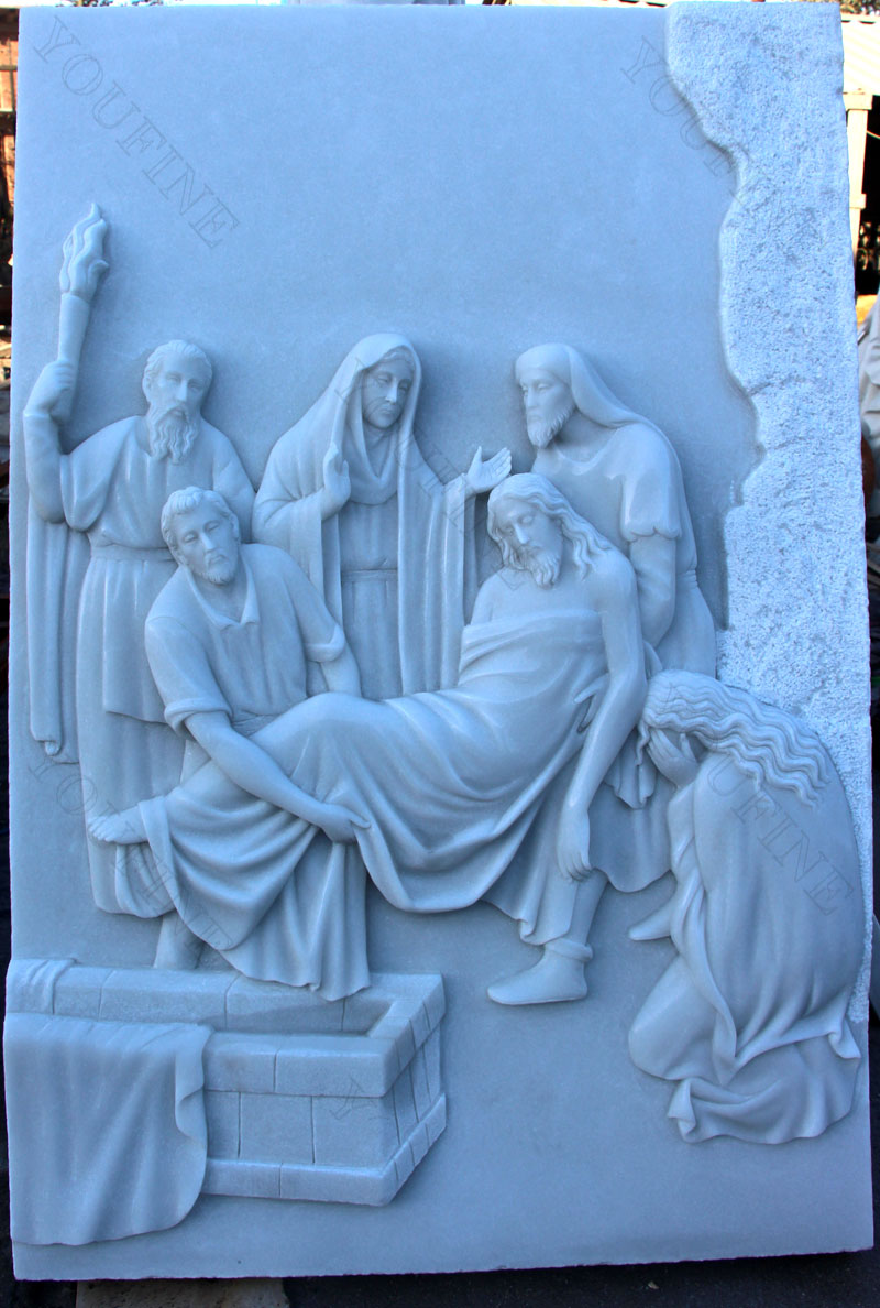Religious marble relief sculptures of the stations of the cross for church decor design