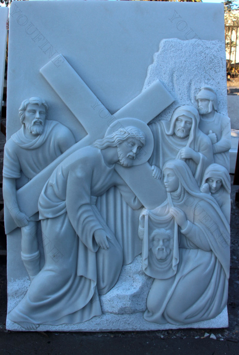 Religious marble relief sculptures of the way of the cross for church decor design