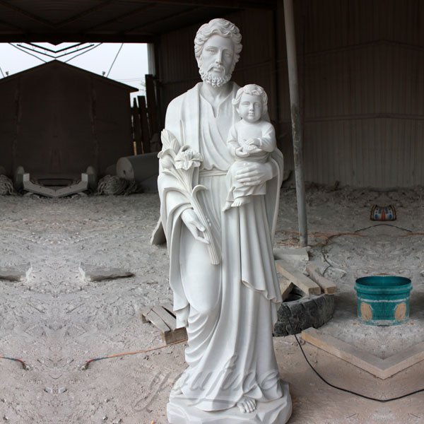 Religious marble statues of St. Joseph with baby jesus for sale