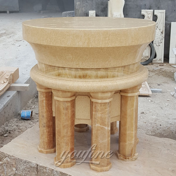 Religious statues of Beige marble religious altar for interior decor