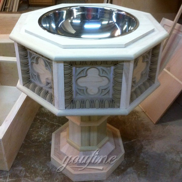 Religious statues of antique marble holy water font with stainless steel bowl for sale