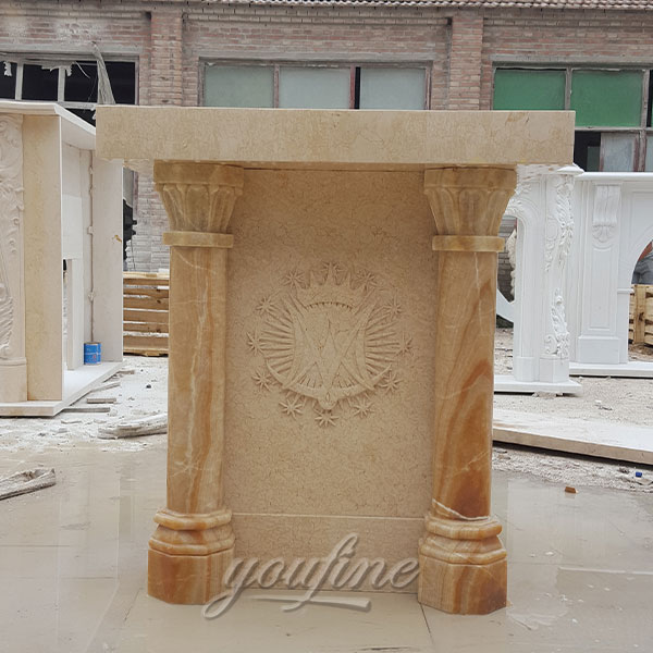 Religious statues of beige marble stone pulpit for church decor