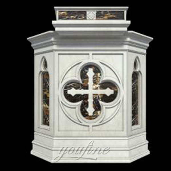 Religious statues of hand carving marble altar with cross decor for sale